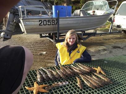 Local Adele Rowe with a haul of Flathead