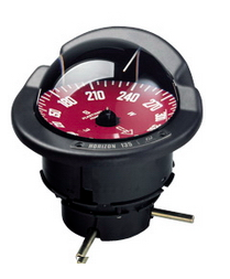 Navigation compass with white letters on red card