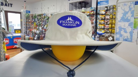 Franklin Marine Canvas Sailing Hat. Wide, stiff brim to keep the sun out of your eyes.