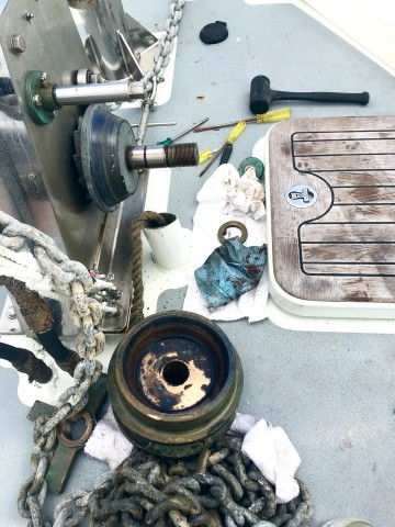 Anchor winch service in Binalong Bay –too much salt in the Strait!