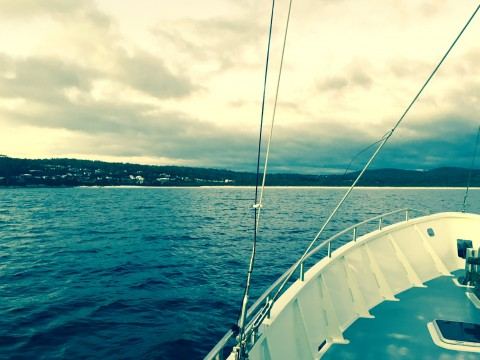 Approaching Binalong Bay –the first easy anchorage after the crossing