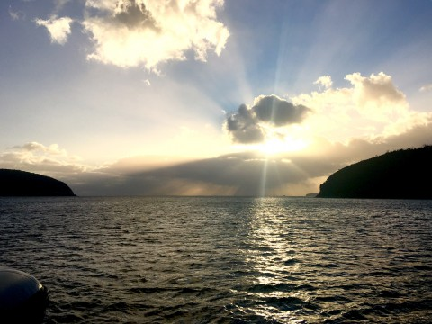 Looking east from a snug anchorage in Fortescue Bay