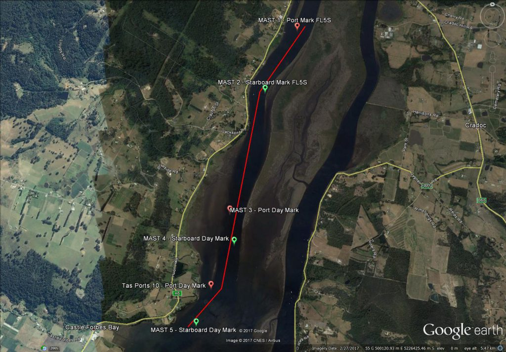 Huon River Nav Marks Google Earth Image